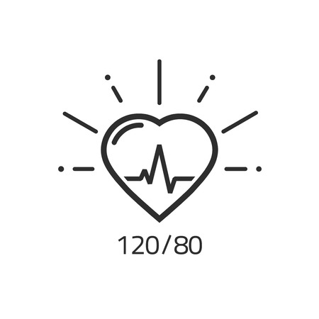medical abstract: Good health vector outline icon, blood pressure numbers with heart pulse cardiogram, medical pulsometer logo element, heart beat label hospital equipment concept flat black and white line style