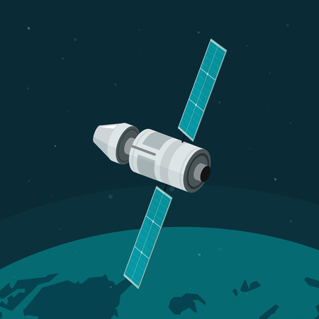 space station: Space station flying on earth orbit vector illustration, flat spaceship station on space background, cosmic ship Illustration