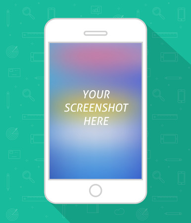 screenshot: Smartphone screen vector illustration on line icons background, flat style mobile phone with screenshot place space, white cellphone Illustration