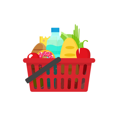 Grocery basket vector illustration, full of healthy groceries products shopping basket flat cartoon style, food and drinks in supermarket basket concept, food shopping icon 일러스트