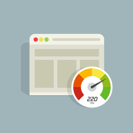 Website speed loading time vector icon isolated, web browser with speedometer test showing fast good page loading time illustration, seo analyzer, optimization, performance