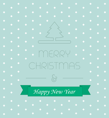 christmass: Christmass card with elegant text and new year ribbon vector illustration, idea of greeting card, xmas postcard cover concept, festive banner decoration line outline style on blue snow background