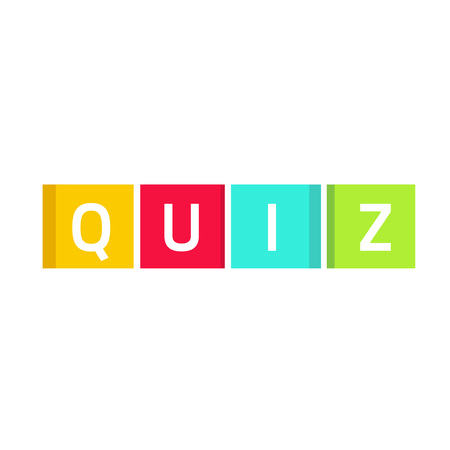 Quiz logo, questionnaire show icon concept, flat style quiz text on colorful game cubes isolated on white background
