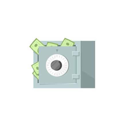 Safe box with money icon isolated on white background, protected money idea, strongbox illustration