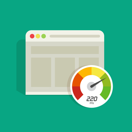 analyzer: Website speed loading time vector icon isolated on color background, web browser with speedometer test showing fast good page loading speed time illustration, seo analyzer, search engine optimisation Illustration