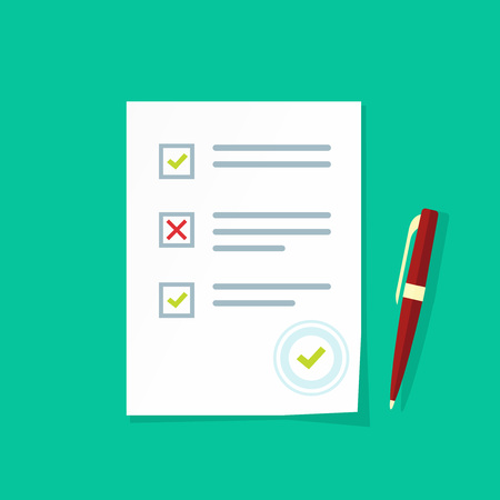 test results: Exam test results paper sheet vector illustration, survey form checklist, filled quiz document isolated on color background, flat style icon