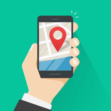 gps navigator: Mobile phone geo location, hand with smartphone gps navigator city map and pin pointer, roadmap direction, idea of quest game route, person found location vector illustration isolated