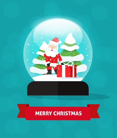 snowglobe: Snow globe with happy santa claus giving gift, and new year trees, Merry Christmas card idea, snowglobe on blue color background