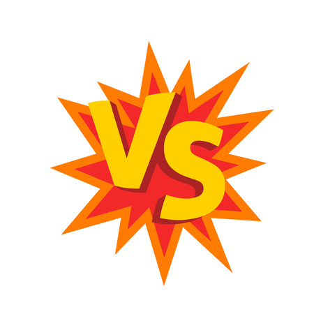 Versus letters   on explosion shape, flat cartoon creative