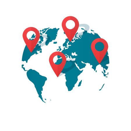 geolocation: World map with location pins vector illustration, concept of global gps transportation, find geo location pointer, geolocation, destination marker, international shipping navigation, delivery Illustration