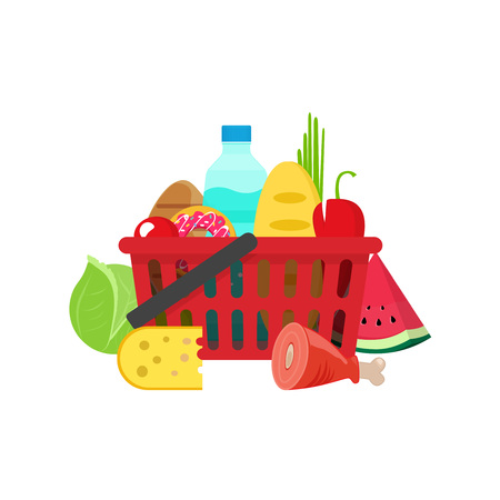 Shopping basket with grocery products vector illustration, full of healthy groceries products basket, food and drinks concept, flat cartoon style isolated on white background