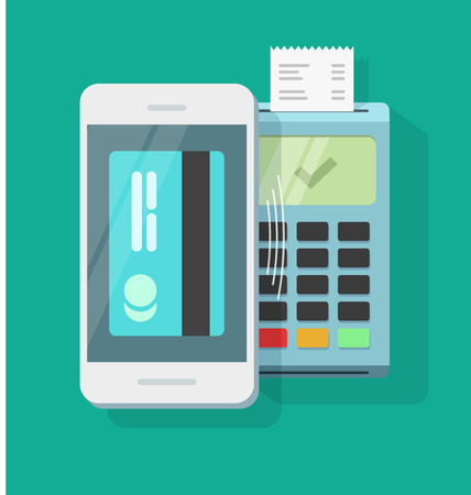 technology transaction: Mobile payment processing wireless technology vector illustration, air pay via mobile phone and nfc pos terminal with receipt, smartphone electronic payment communication, passed transaction