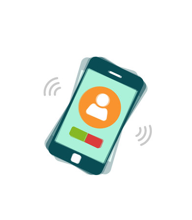 Ringing mobile phone vector illustration isolated on white background, flat style calling or vibrating smartphone, cellphone Illustration