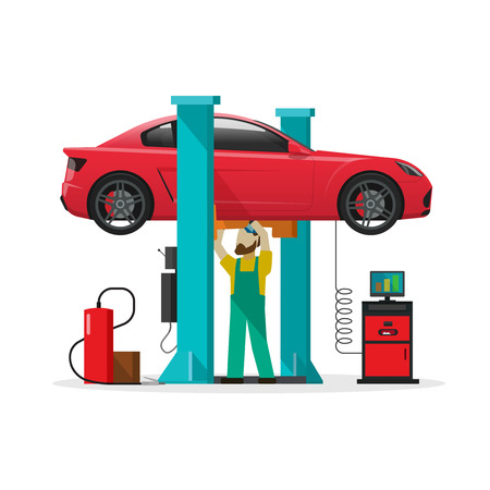 Car repair shop station vector illustration, slat style repairman working under lifted auto using diagnostics tools equipment, mechanic man repairing automobile in workshop garage isolated on white Illustration