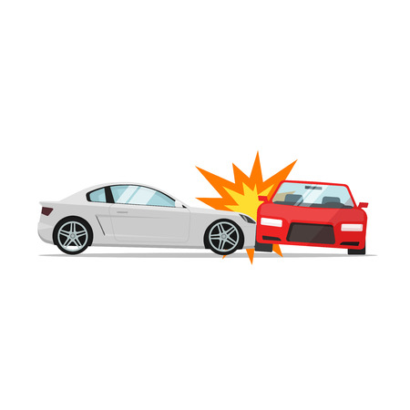 Car crash vector illustration flat cartoon style, two automobiles collision, auto accident scene isolated on white background Vettoriali