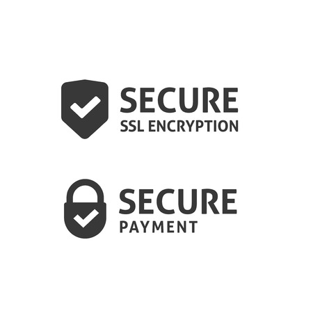 Secure icono de conexión del vector aislados, blanco y negro garantizados escudo ssl y candados con símbolos, protegida idea de pago, la tecnología de cifrado de datos seguro, https página web signo certificado de privacidad