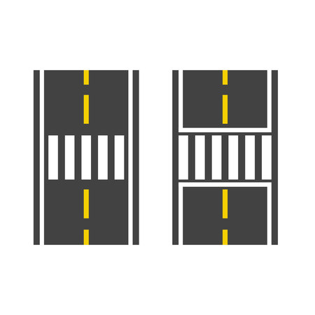 crosswalk: Pedestrian crossing on road top view vector illustration, crosswalk path, crossover set on white background
