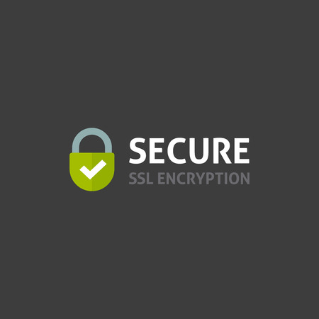 Secure internet connection icon vector illustration isolated on dark background, secured ssl padlock symbols, protected badge, safe data encryption technology, https website certificate privacy sign