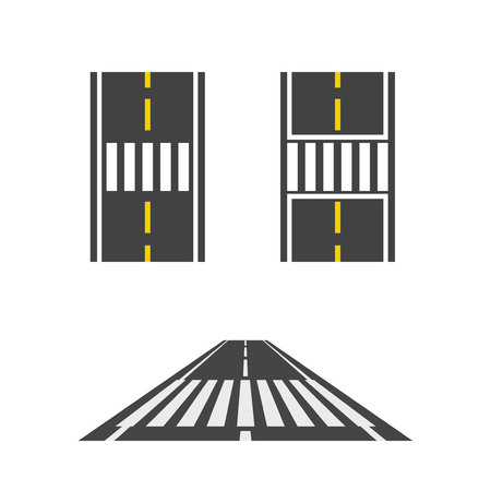 Pedestrian crossing on road top and perspective view vector illustration, crosswalk path, crossover set on white background