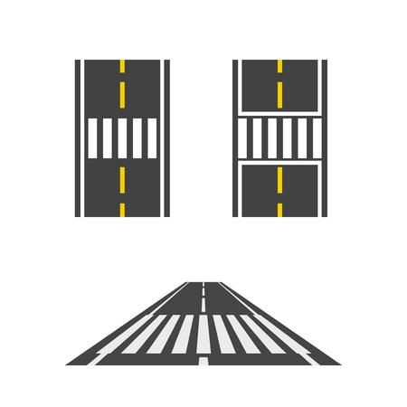 Passaggio pedonale in cima strada e illustrazione vettoriale vista prospettica, il percorso pedonale, set di crossover su sfondo bianco