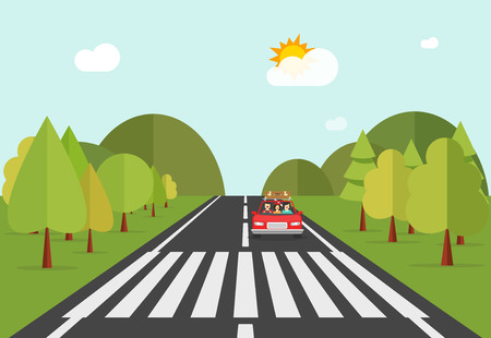 crosswalk: Crosswalk path on road with car, automobile stopped before pedestrian crossing perspective view vector illustration, crossover on forest nature landscape on white background