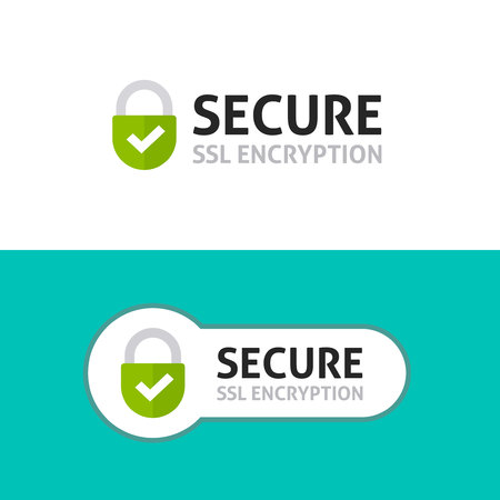 Secure connection icon vector illustration isolated on white background, flat style secured ssl shield symbols, protected safe data encryption technology, https certificate privacy sign Vettoriali