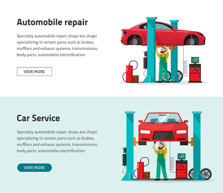 Car repair shop station vector banner, flat style repairman working under lifted auto using diagnostics tools equipment, mechanic man repairing automobile in workshop garage poster, isolated