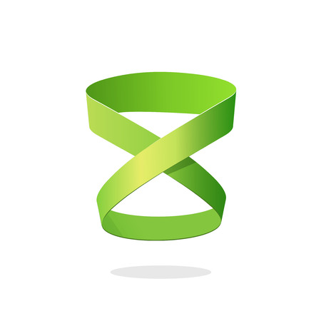 looped: Loop ribbon   element design isolated on white background, abstract green looped strip, idea of infinity, eternity or endless symbol, creative geometric symbol