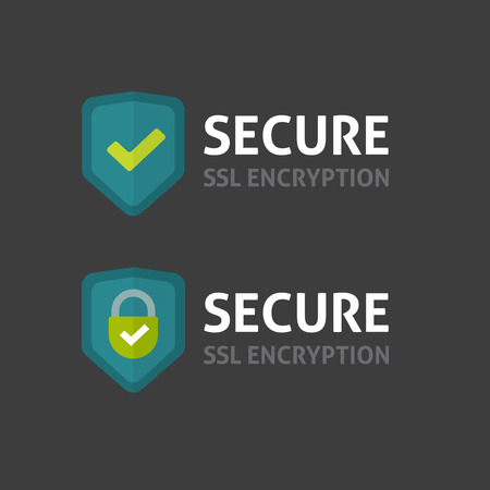 secured payment: Secure connection label vector illustration isolated on dark background, flat style secured ssl shield symbols, protected safe data encryption technology icon, https certificate privacy sign