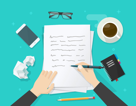 person writing: Writer writing on paper sheet vector illustration, flat cartoon person hands with pen on working table with text, workplace top view, desktop with writing letter, journalist author wokspace