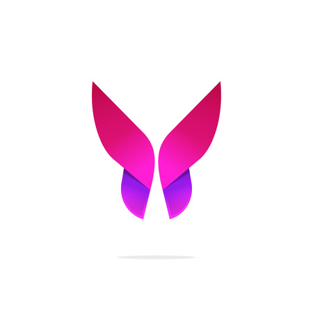 Purple butterfly logo template with shadow on wings. Abstract red butterfly gradient shape. Beautiful creative vector butterfly logotype, icon, brand or identity.