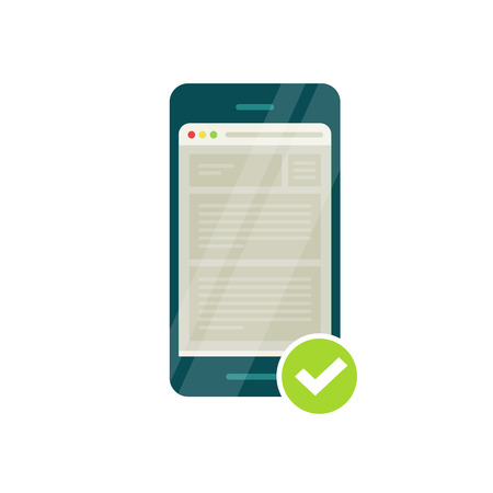 validation: Smartphone with mobile browser and green tick, mobile adapted website icon vector illustration, flat style, web page browser and checkmark, mobile responsive compatible site, successful validation