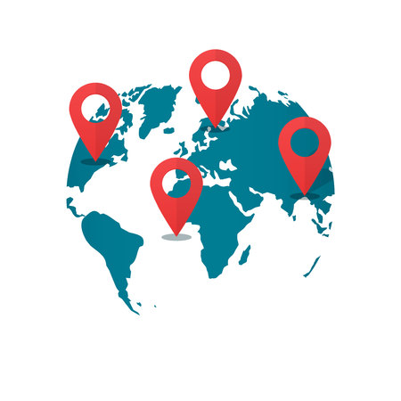 geolocation: World map with destination pins vector, concept of global gps transportation logistic, find geo location pointer, geolocation, shipping marker, location international shipping navigation, delivery Illustration