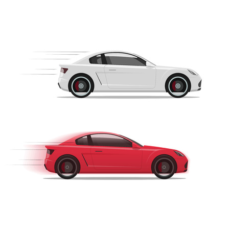 fast car: Cars racing fast vector illustration, flat auto moving on high speed with motion blur, race of two automobiles side view isolated on white background
