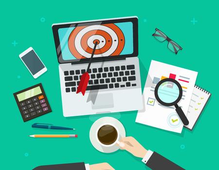 Il successo illustrazione vettoriale obiettivo di affari, manager che lavora sul computer portatile trovare scopo e l'analisi dei dati finanziari, il targeting concetto di ricerca, la realizzazione della missione, gli obiettivi di successo riportano