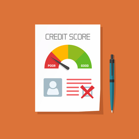 report form: Bad credit score document with not approved stamp vector concept, paper sheet poor chart of personal credit score information, data report form, declined, failed