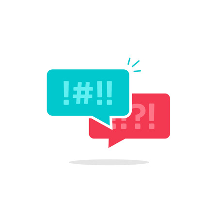 argument: Argue chat bubbles icon vector, concept of argument messages, rude dialog, arguing couple chatting, conflict speech, discussion, abuse symbol isolated on white