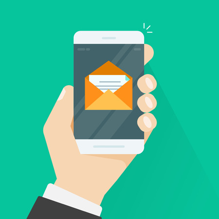 Mobile phone email vector illustration, flat style smartphone in hand with e-mail envelope message and letter inside, concept of newsletter received, inbox on cellphone Vectores