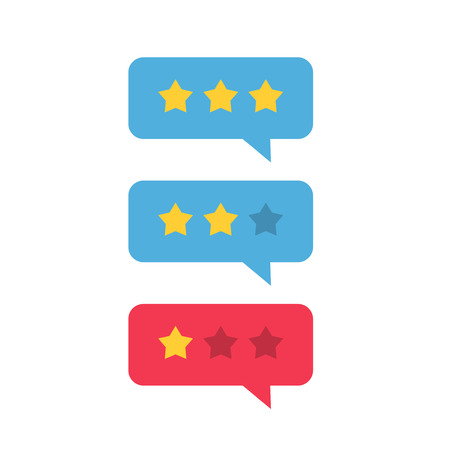 Review rating icon vector, flat style review stars with good and bad rate chat bubble speech, concept of testimonial messages, notification alerts, feedback evaluation, quality assessment Illustration