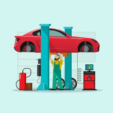 Car repair station vector illustration, flat style repairman working and fixing under lifted auto using diagnostics tools equipment.