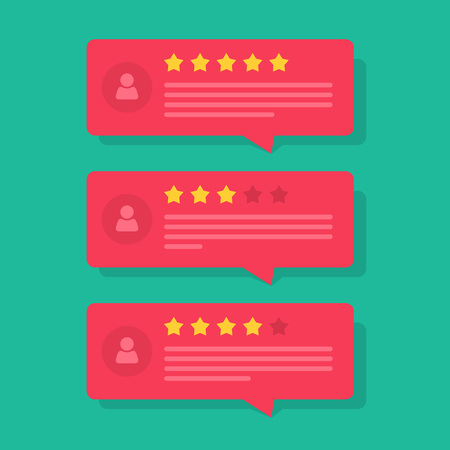 Review rating bubble speeches vector illustration, flat style reviews stars with good and bad rate and text, concept of testimonial messages, notification alerts, feedback evaluation
