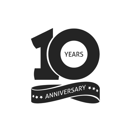 10 years anniversary pictogram vector icon, 10th year birthday logo label, black and white stamp isolated