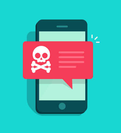 alerts: Malware notification on smartphone vector, flat style mobile phone with skull bones bubble speech red alert, concept of spam data, fraud internet error message, insecure connection, online scam, virus Illustration