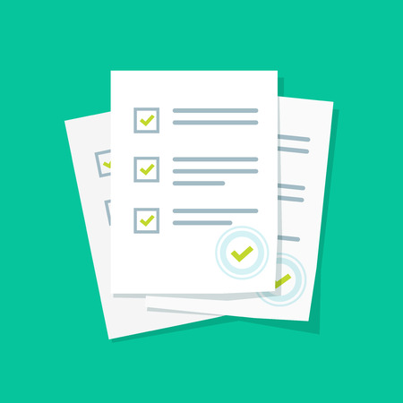 Survey or exam form paper sheets pile with answered quiz checklist and success result assessment, idea of education test, questionnaire, document vector illustration flat style Reklamní fotografie - 72800522