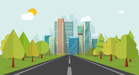 Road way to city buildings on horizon vector illustration, highway cityscape flat style, modern big hight skyscrapers town far away ahead, forest perspective landscape and city view