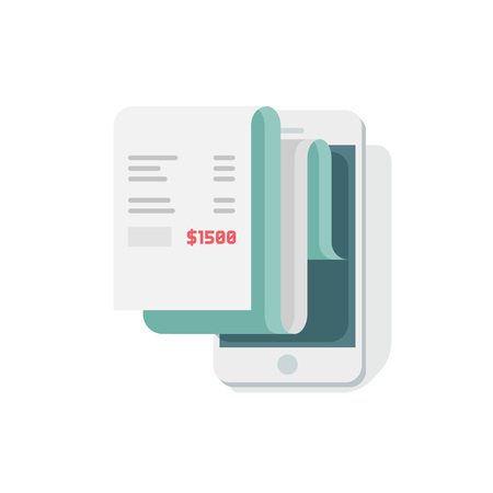 accounts payable: Receipt in smartphone vector illustration, flat style mobile phone with invoice bill paper, concept of online payment, finance, tax Illustration