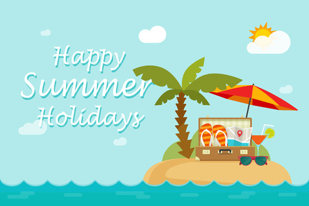 Happy summer holidays text on paradise sand island nature landscape, flat cartoon style beach resort with travel bag full of things ready to vocation trip, summertime vector illustration