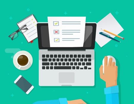 Onlineformular-Übersicht über Laptopvektorillustration, Person, die an dem Computer zeigt Quizprüfungspapier-Blattdokument arbeitet. Vektorgrafik