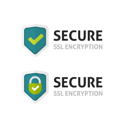 SSL certificate vector icon, secure encryption shield, protected connection label, secure lock symbol isolated on white Archivio Fotografico