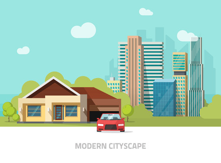 hight tech: City buildings behind cottage home vector illustration, modern cityscape flat style, big hight skyscrapers town, suburban landscape, suburb view.